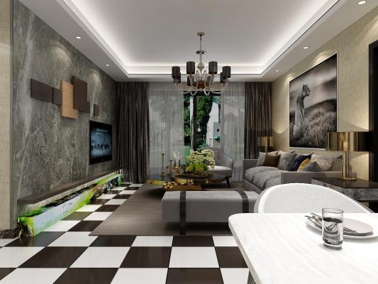 后现代客厅 沙发 吊灯