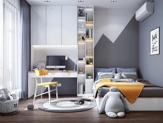 现代风格儿童房 书桌书柜 儿童床