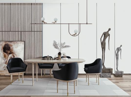 现代餐桌椅 餐椅 餐桌 吊灯