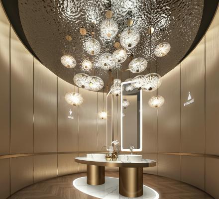 现代公共卫生间 洗手台 吊灯