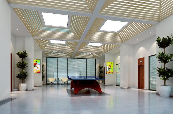 现代政府单位乒乓球室 乒乓球桌 盆栽