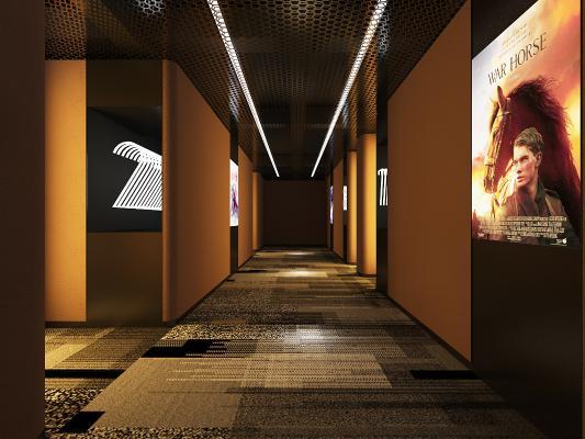 现代电影院过道 放映厅 座椅