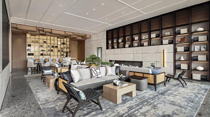 新中式风格休闲区 洽谈室 休闲椅 洽谈区