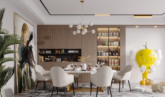 现代简约轻奢风格餐厅 餐桌餐椅 酒柜 边柜 餐边柜