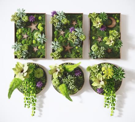现代绿植 植物墙面装饰 壁饰