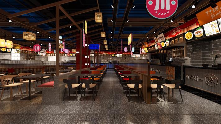 工业风餐厅 吊灯 餐台