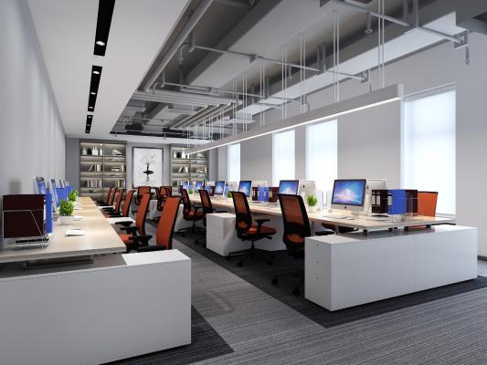 现代办公室 办公桌 办公椅