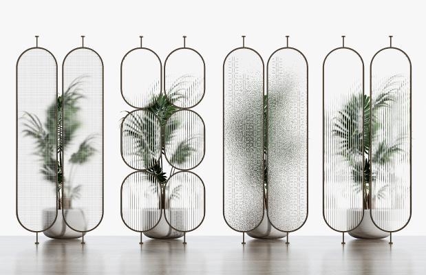 现代玻璃隔断组合