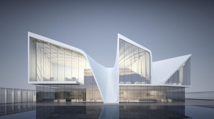 现代简约异形售楼处 会所 建筑外观