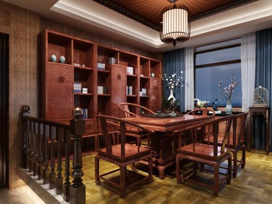 中式茶室茶桌椅茶柜组合