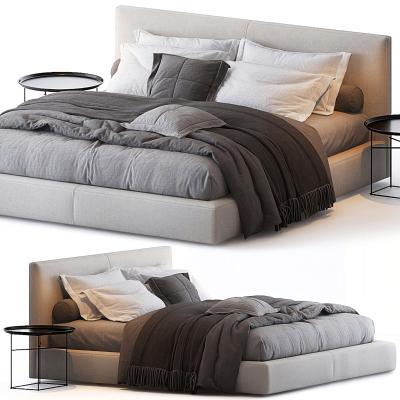 现代双人床 边几 枕被