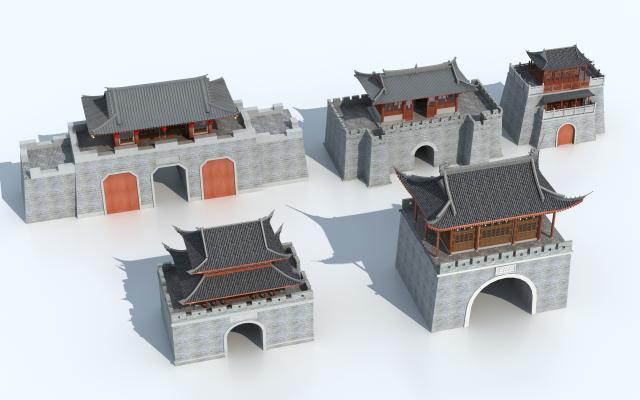 传统中式古城楼 古建 城门