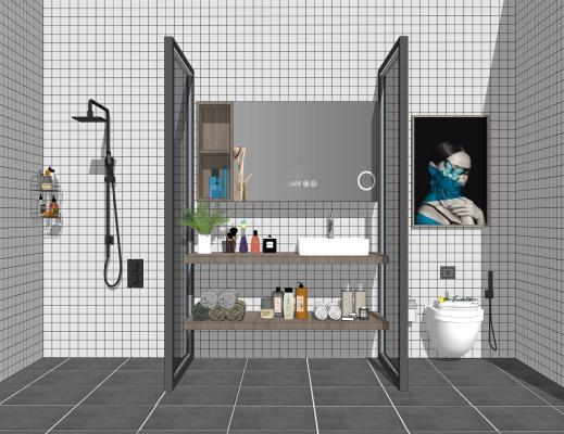 现代卫生间洗手台马桶淋浴组合