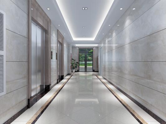 现代风格电梯间 防火门 入户信箱