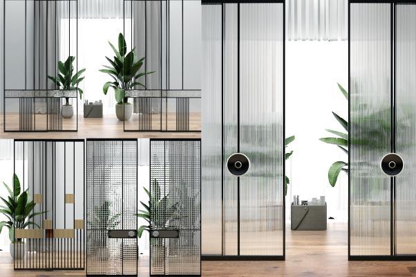 现代玻璃移门隔断组合