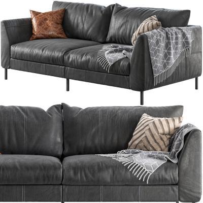 现代皮革双人沙发