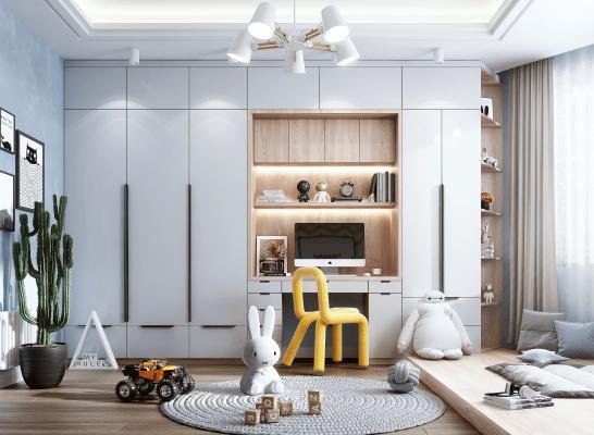 现代风格儿童房 书房 书桌 书柜