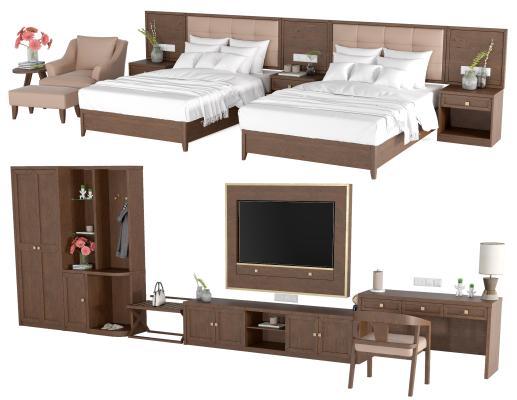 新中式床 衣柜