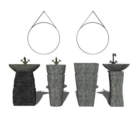 日式石头台盆组合