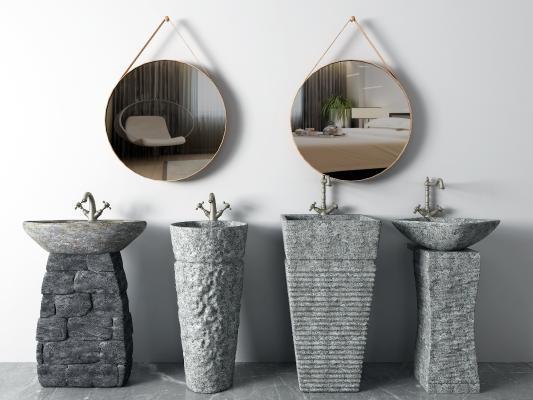 現代洗手臺 鏡子