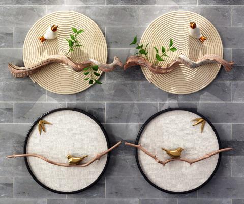 新中式圆形墙饰挂件 花鸟墙饰 圆形挂件
