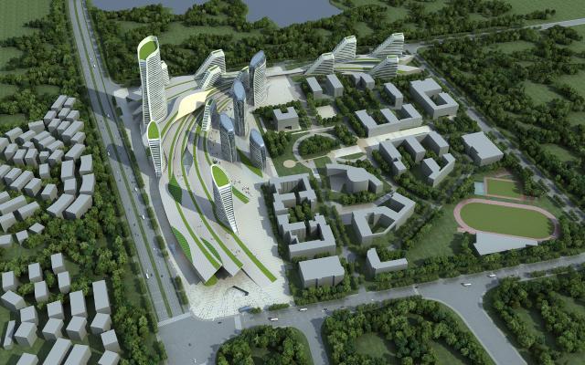 现代商业综合体鸟瞰规划 城市规划 建筑外观