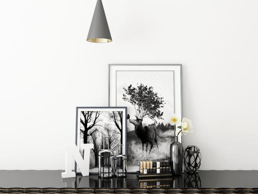 现代装饰画 摆件 花瓶组合