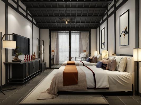新中式酒店客房 床具 吊灯