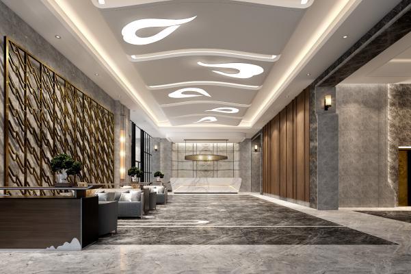现代酒店大厅 休闲沙发 壁灯