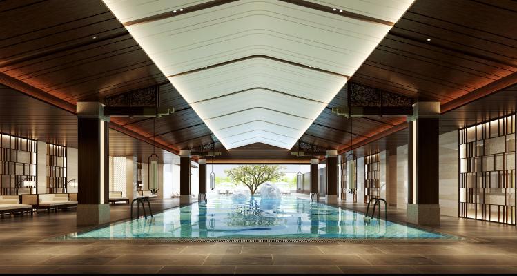 新中式酒店会所 游泳池 隔断 躺椅