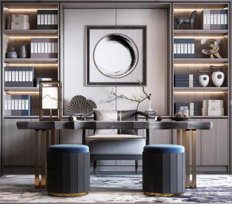 新中式书桌椅 书架