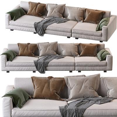 现代布艺多人沙发