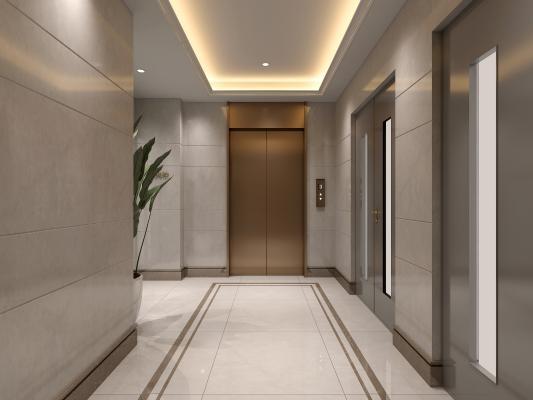 现代电梯间过道 消防 储物柜