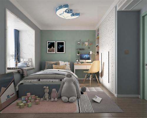 现代风格儿童房 床 书桌椅 衣柜