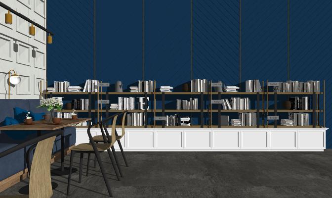 现代书吧书架 桌椅组合
