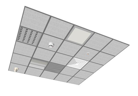 现代矿棉板 灯具 吊顶组合
