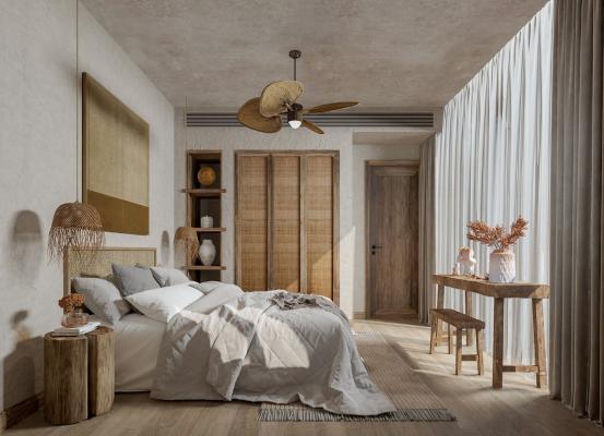 北欧侘寂民宿卧室