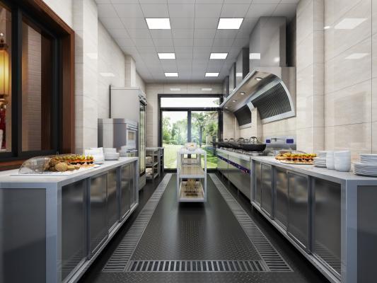 工业风食堂后厨 工作间 工装厨房