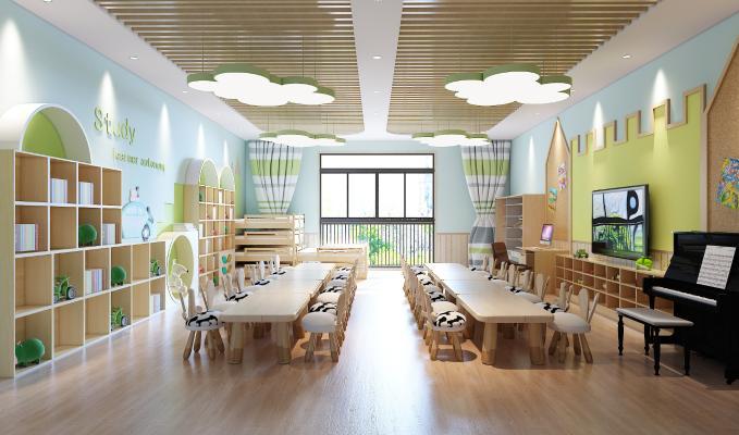 现代幼儿园教室 吊灯 装饰柜