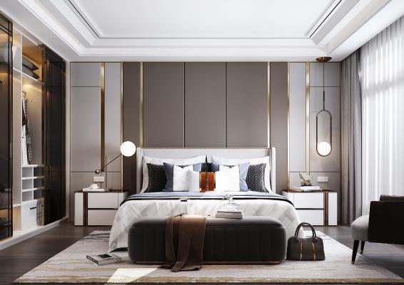 现代卧室 双人床 床上用品 衣柜 吊灯 台灯 衣柜 装饰品
