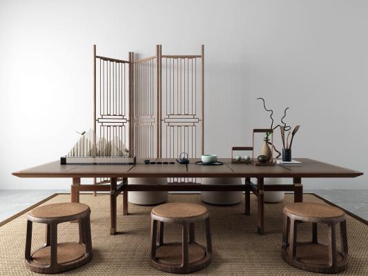 新中式茶桌椅 隔断