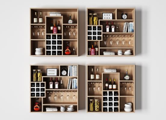 现代实木酒架 摆件组合 柜子 酒架