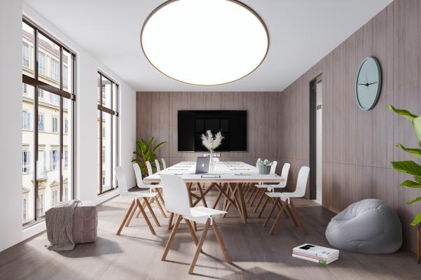现代简约轻奢风格会议室 会议室办公区 会议室桌子椅子 电视