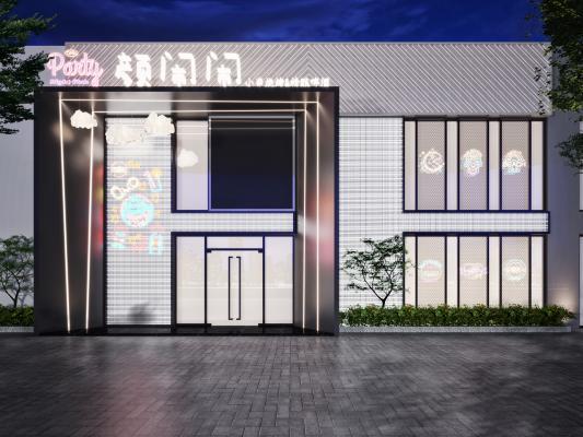 现代酒吧 门头 植物