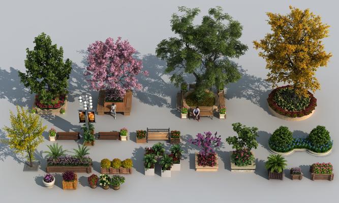 現代植物景观组合 花池 树池