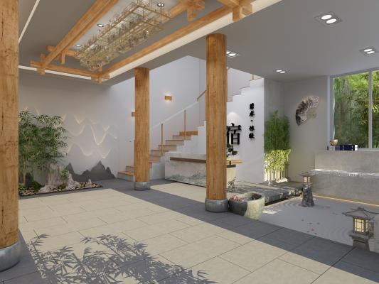 新中式民宿大厅 前台 竹