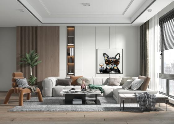 现代风格客厅 电视背景墙