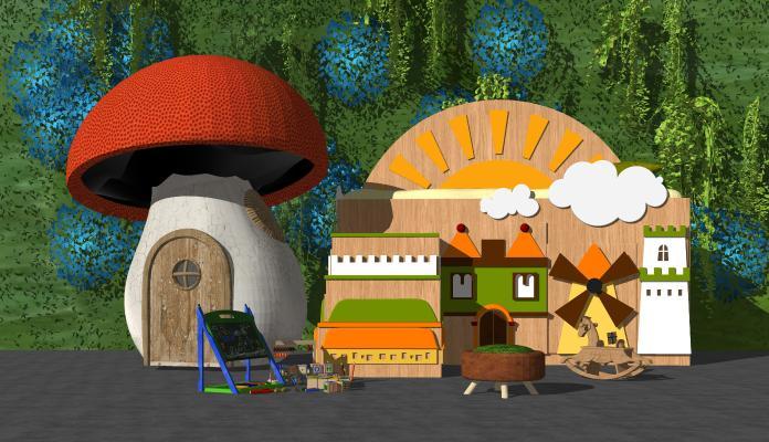 现代玩具卡通木屋 蘑菇房子 儿童玩具