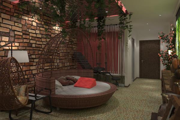 新中式圆床酒店房间