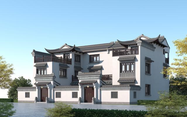中式别墅双拼 徽派建筑三层住宅楼 苏州园林风格别墅 青瓦白墙